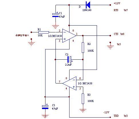 为减少干扰,从收音机到接口电路的音频输入线用屏蔽导线.